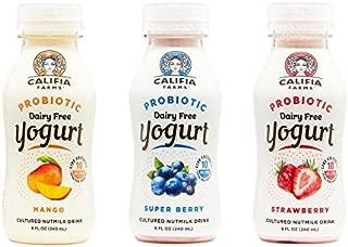 Califia Farms Variety Pack of Strawberry/Super Berry/Mango Probiotic Drinkable Yogurt, 8 Oz (Pack of 9) | Dairy Free | Plant Based | Nut Yogurt | Vegan | Non-GMO