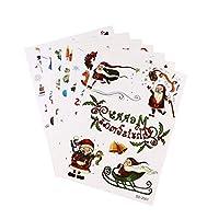 PIXNOR 7Pcsクリスマス一時的な入れ墨サンタトナカイ雪だるまクリスマスツリーソックスエルクギフト入れ墨ステッカーホリデーパーティー子供大人のための好意