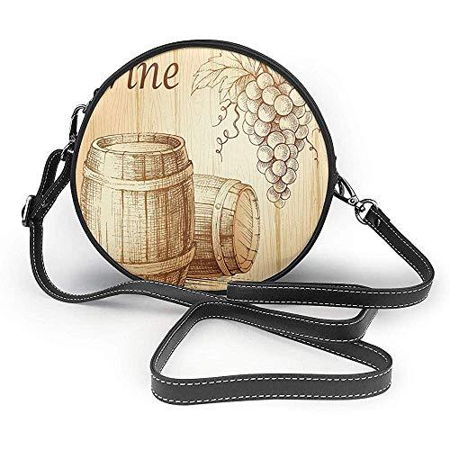 TURFED PU Runde Umhängetasche Schöne Wein Holzfässer und Weintraube Auf Holz Hintergrund Botanik Ernte Thema Kunstwerk Pfirsich Geldbörse Single
