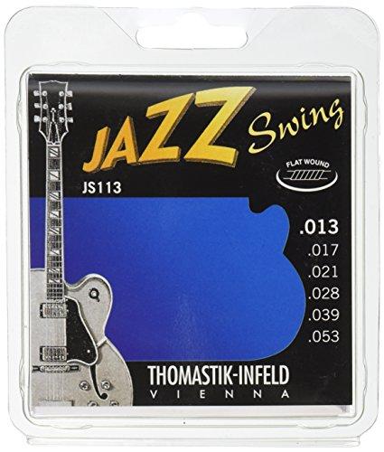 Thomastik snaren voor elektrische gitaar Jazz Swing Series nikkel flat wound set JS110 Medium .013-.053w JS113 Medium 13-53