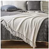 Battilo Boon Knitted Zig-Zag Textured Tweed Throw Couch Cover Blanket (White, 50' x 60')