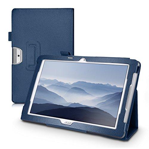 kwmobile Hülle kompatibel mit Acer Iconia One 10 (B3-A30) - Slim Tablet Cover Hülle Schutzhülle mit Ständer Dunkelblau
