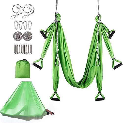 Knoijijuo Silk Aerial Yoga Swing Hammock Kit - Trapeze Yoga Kit - Yoga Hammock Sling Kit - Wide Flying Yoga Inversion Tool with Daisy Chains Antigravity,A