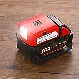 WITLIGHT - Adaptador para Milwaukee Adaptador para Batería con USB, puerto DC y luz de Trabajo – Cargador Alimentador para Batería de Litio Milwaukee 18 (SOLO Herramienta)