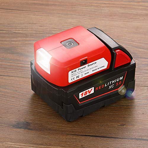 WITLIGHT-Adattatore per Milwaukee Adattatore per Batteria con USB & Porta DC & Luce da Lavoro - Caricatore Alimentatore per Batteria al Litio Milwaukee 18 (SOLO Strumento)