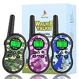 LINN Walkie Talkie Kinder,8 Kanäle Funkgerät Set mit Taschenlampe,1-3KM Reichweite Walki Talki für Zelten,Indoor und Wandernm,Spielzeuge Geschenk Jungen/ Mädchen(3er Set)