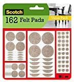 Scotch Mounting, Fastening & Surface Protection SP845 Scotch Brand 3M, for protecting linoleum floors, Round, Beige, Assorted Sizes, 162 Pack Felt Pads, 162 Pack