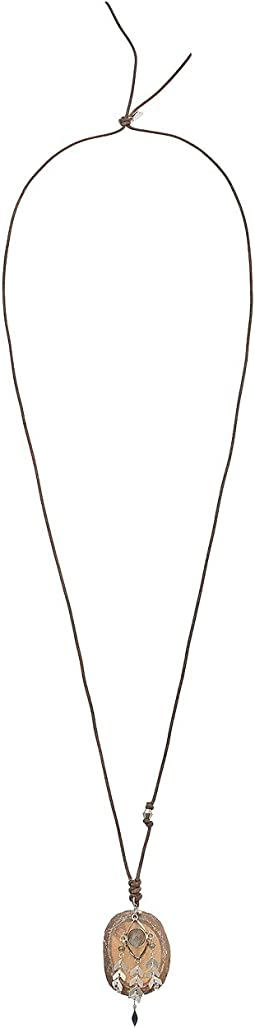 Chan Luu - Large Single Stone Necklace on Leather with Chevron Accents