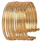 Touchstone New Indian Bollywood Fashion Multi Layered Hand Peeled Wires Rhinestone Dramatic Designer Jewelry Slip In Easy To Wear Cuff Bracelet In Gold Tone for Women.