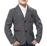 JiaYou Child Kid Boy Casual Grey Slim Fit Blazer Jacket(Grey,4T)