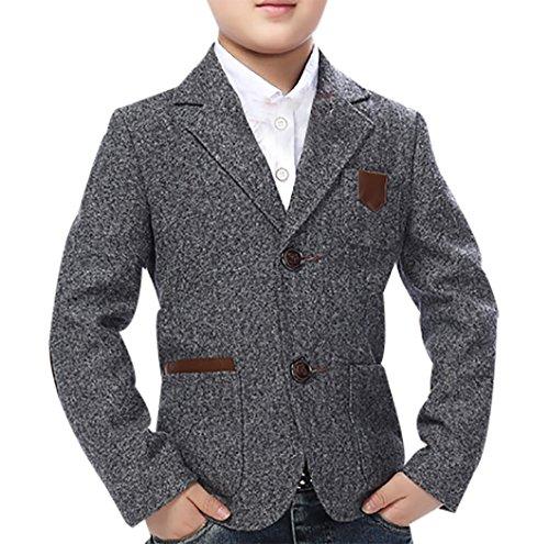 JiaYou Child Kid Boy Casual Grey Slim Fit Blazer Jacket(Grey,5T)