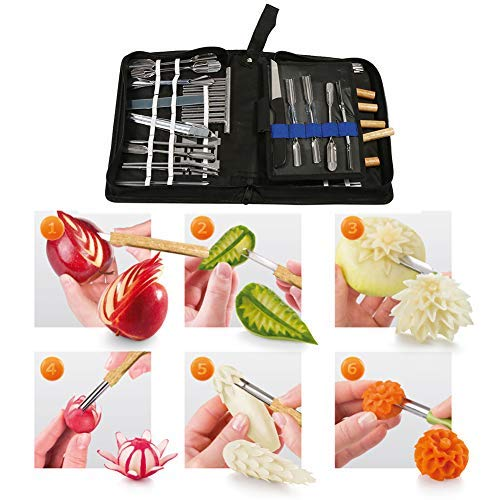 herramienta para tallar fruta set, corta 46 piezas de herramientas de talla culinaria corte de guarnición guarnición kit de herramientas para alimentos vegetales de fruta corte fruta cuchillo tallar
