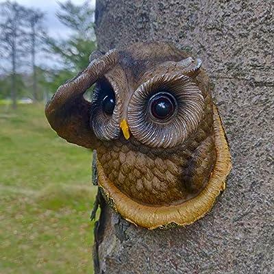 Juegoal Owl Tree Hugger, Garden Peeker Yard Art, Outdoor Whimsical Tree Sculpture Garden Decoration