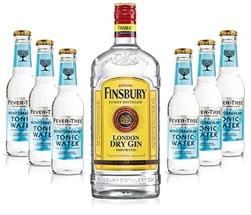 Gin Tonic Set - Finsbury London Dry Gin 0,7l 700ml (37,5% Vol) + 6x Fever Tree Mediterranean Tonic Water 200ml - Inkl. Pfand MEHRWEG