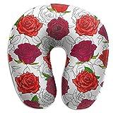 Almohada para el Cuello Colorful Dahlia Floral Blooming Country Nature Rojo Almohada de Viaje en...