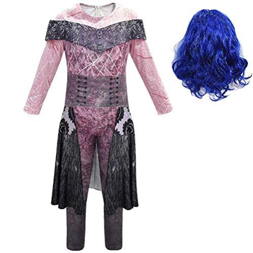 Nachkommen 3 Kostüm Für Mädchen Frauen,Halloween Cosplay Kostüm Audrey/Mal/Evie/Jay/Carlos Cosplay Jumpsuit Set 3D Gedrucktes Kleid Mädchen Halloween Kostüm Für Erwachsene Kinder,B,150cm