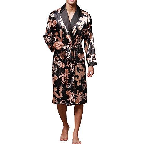 Sidiou Group Nacht Robe Satin Kimono Morgenmantel Herren Kimono Robe Lang Ärmel Bademantel Schlafanzug Nachtwäsche Satin Nachthemd (Schwarz, XL)
