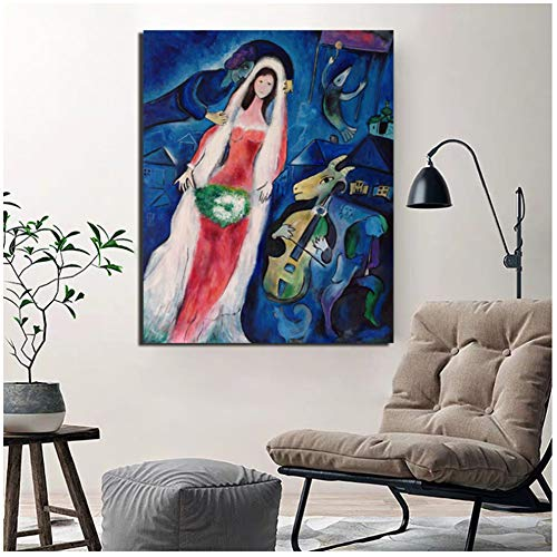 chtshjdtb Marc Chagall Poster Vintage Leinwand Malerei Poster Marmor Wandkunst Malerei Dekorative Bilder Moderne Wohnkultur -60x80cm Kein Rahmen