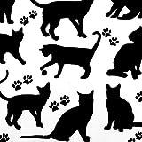 Baumwollstoff 2120 Katzen & Pfoten monochrom -