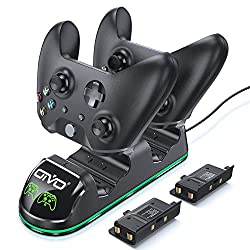 【Special Design for All Xbox One Controllers】- Xbox One controller charger with two rechargeable battery packs support RG Xbox One / Xbox One S / Xbox One X / Xbox One Elite controllers (Note: Does't fit Series Controller) 【Rechargeable & High Speed ...