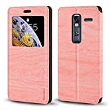 LG Zero Case, Wood Grain Leather Case with Card Holder and