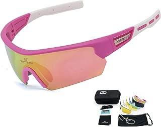 TOPTETN Gafas Ciclismo Polarizadas con 5 Lentes Intercambiables Gafas de Sol Deportivas Antivaho Antireflejo Anti Viento y UV Adaptadas a Deporte Carrera Running Bicicleta MTB para Hombre y Mujer
