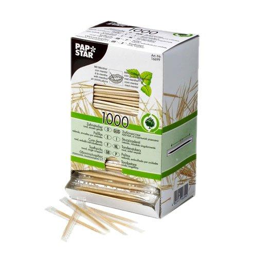 Distributeur de cure dent en bois - 1000 pièces - Goût menthe - Emballés en sachet individuel pour une meilleure hygiène - Bois « PURE » certifié FSC