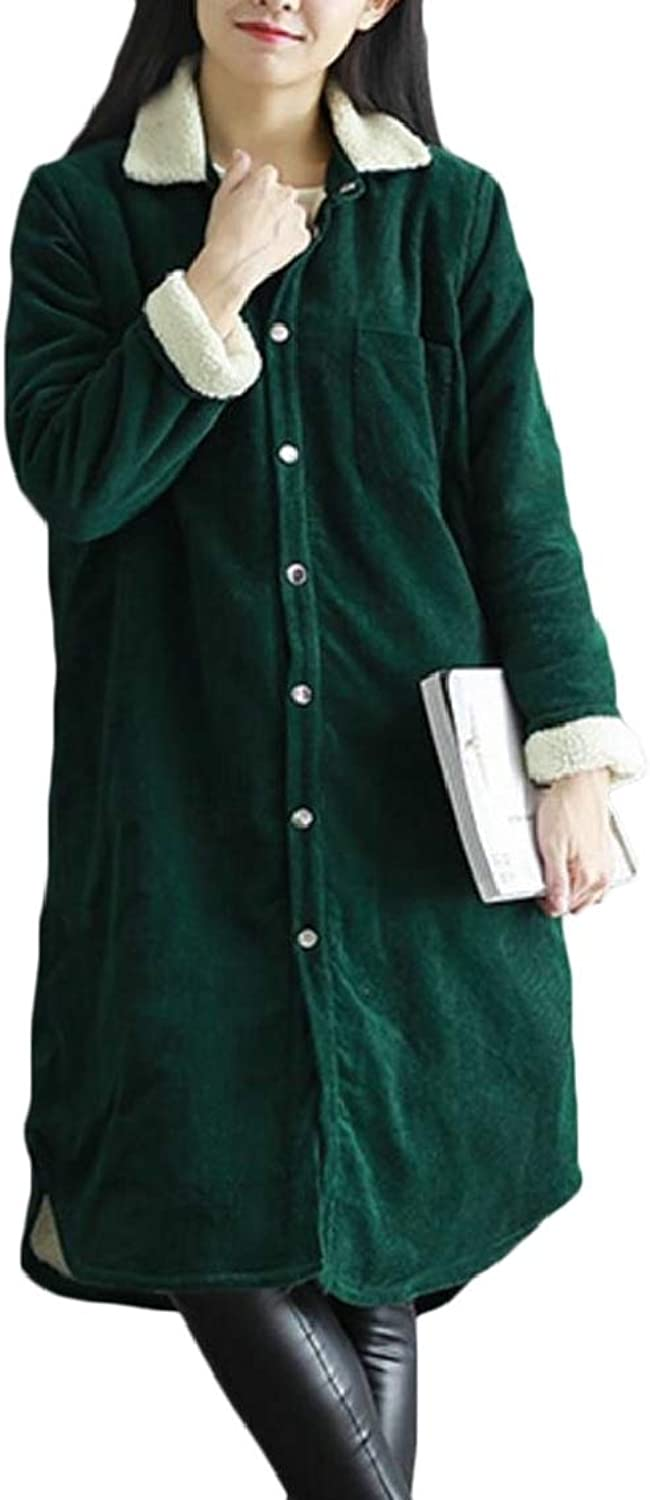 TDCACA Womens Casual Curduroy Loose Coat Fleece Lined Thicken Long Coat Overcoat