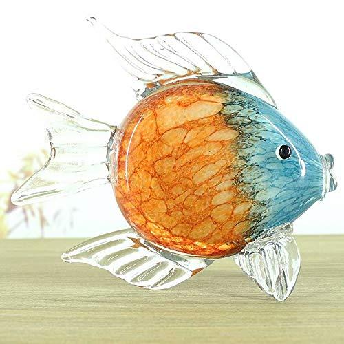 SILK ART Glass Crystal Decor Tropical Ornamental Fish Paperweight Statue Animal Sculptures
