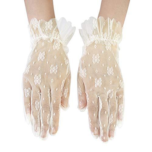CHIC DIARY Guantes de encaje para mujer, guantes de novia, color negro/blanco, guantes de malla, guantes cortos, para boda, vestido de noche, fiesta beige Talla única
