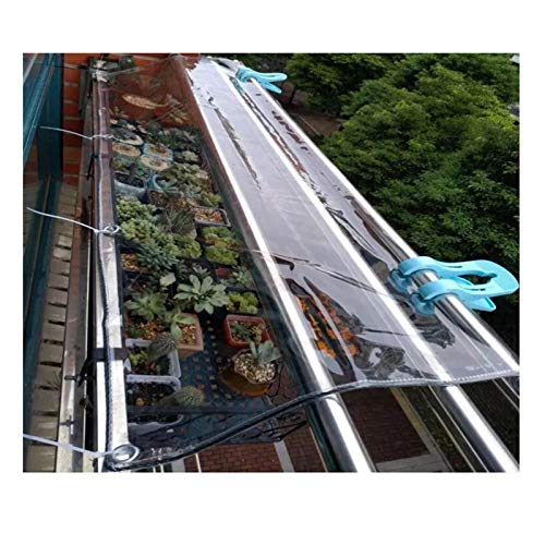LIANGJUN Tarpaulin Waterproof Heavy Duty, PVC Plastic Dust-proof Plant Covers For Outdoor Garden Balcony Tarp Thicken 0.5mm, 550g/m² (Color : Clear, Size : 2.4x5m)