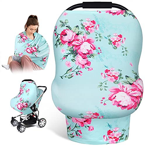 Nursing Cover Breastfeeding Scarf-Carseat Cover Boy and Girl, Baby Car Seat Covers Canopy, Breastfeeding Cover for Babies Girl, Infant Carseat Canopy, Perfect Shower Gift for New Moms(Floral)