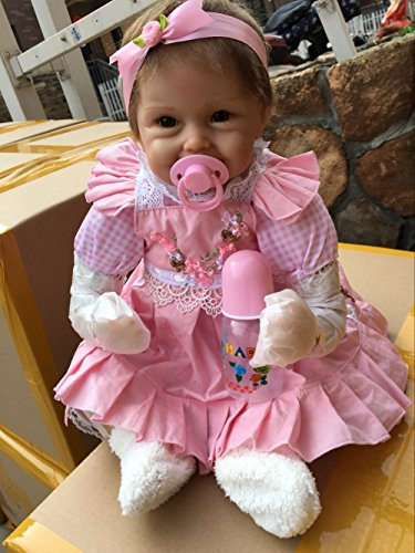 Pinky Lifelike 18Inch 45cm Reborn Baby Dolls Soft Doll Silicone Body Realistic Looking Reborn Dolls Handmade Newborn Baby Toddler Child Birthday and Xmas Gift