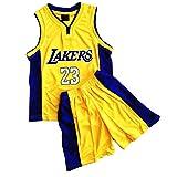 Daoseng Juego de camiseta y pantalones cortos de baloncesto para niños de 2 piezas #23, 23#amarillo, M/Child Height 125-135CM