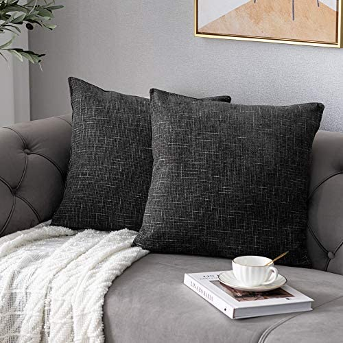 Anickal Black Grey Pillow Covers 22x22 Inch Set of 2 Rustic Farmhouse Chenille Decorative Throw product image