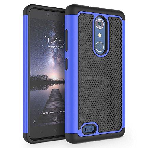 SYONER ZTE Zmax Pro Case, ZTE Carry Case, ZTE Blade X Max Case, [Shockproof] Hybrid Rubber Dual Layer Defender Protective Phone Case Cover for ZTE Z981 / Z983 [Gray/Black]