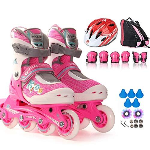 Taoke Professionelle einreihig Skates, 3-6 Jahre alte Männer und Frauen Anfänger Roller Skates, Kinder Inline Skates, mit veränderbarer Länge (Farbe: Rosa, Größe: M (EU31-34)) dongdong