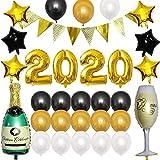 Corwar 2020 Neujahr Ballons Kit, Latex Pentagramm Weinflasche Ballon mit Dreieck Fahnen Banner für 2020 frohes neues Jahr KTV Hotel Geburtstag Abschlussfeier Dekoration