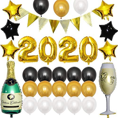 Decoraciones Del Kit De Globos De Año Nuevo - Suministros De Fiesta De Feliz Año Nuevo 2020, Cerveza Champagne Foil Balloon Banner Tassel Gold Black Silver Silver Latex Balloon