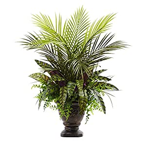Nearly Natural 6828 Mixed Areca Palm, Fern & Peacock with Planter, 27″,Green