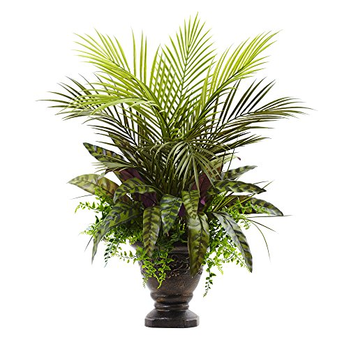 Nearly Natural 6828 Mixed Areca Palm, Fern & Peacock with Planter, 27',Green
