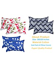 BSB HOME Cotton 105 TC Pillow Cover, 20 x 30 Inch, Blue, Pink, Green