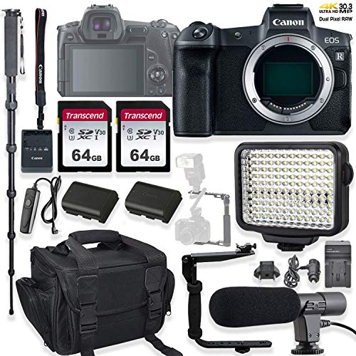 Canon EOS R Mirrorless Digital Camera (Body Only) Holiday Deal Bundle with LED Video Light, FB 150 Flash/Light Bracket & Microphone Accessory Kit (Renewed)