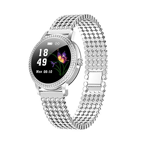 YCheng Smartwatch Damas Smart Watch LW20 Pantalla Táctil Impermeable Redonda con Monitor De Ritmo Cardíaco Función Fisiológica Femenina Función De Moda Deportes Pulsera (Color : Silve Round Diamond)