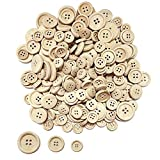 Juland 200 Stück Holz Knöpfe Retro Bastelknöpfe Gemischte Puppenknöpfe Rund Kinderknöpfe Holzknöpfe 4 Löcher zum Nählen Basteln Handwerk Malerei DIY Basteln Deko - 15, 20, 25mm