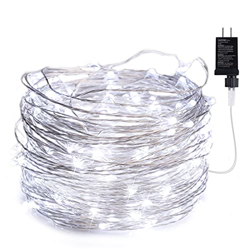 Fairy Lights Plug in, 40Ft 120 Led Waterproof Firefly Lights on Silver Wire UL Adaptor Included, Starry String Lights for Wedding Indoor Outdoor Christmas Patio Garden Decoration, White