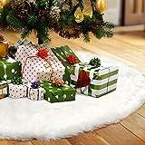 LOKIPA Falda para árbol de Navidad, 91,44 cm, color blanco, de piel sintética, para decoración de Navidad