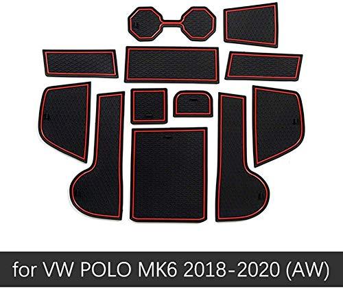 HYNB Ranura para Puerta corrediza Ranura de látex de Goma Cojín de Polvo Interior para VW Polo MK6 Volkswagen 2018 2019 2020 Accesorios para Coche, Blanco, Rojo