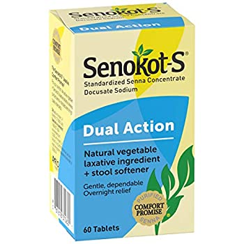 Senokot-S Dual Action 60 Tablets Natural Vegetable Laxative Ingredient Plus Stool Softener Tablets Gentle Dependable Overnight Relief of Occasional constipation