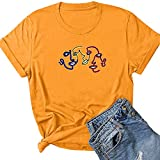 Tianherenjia Abstracto Cara Perfil Gráfico Camisetas Mujeres Divertido O-Cuello Impresión Patrón Camisa Moda Harajuku Camisa Ropa, amarillo, M